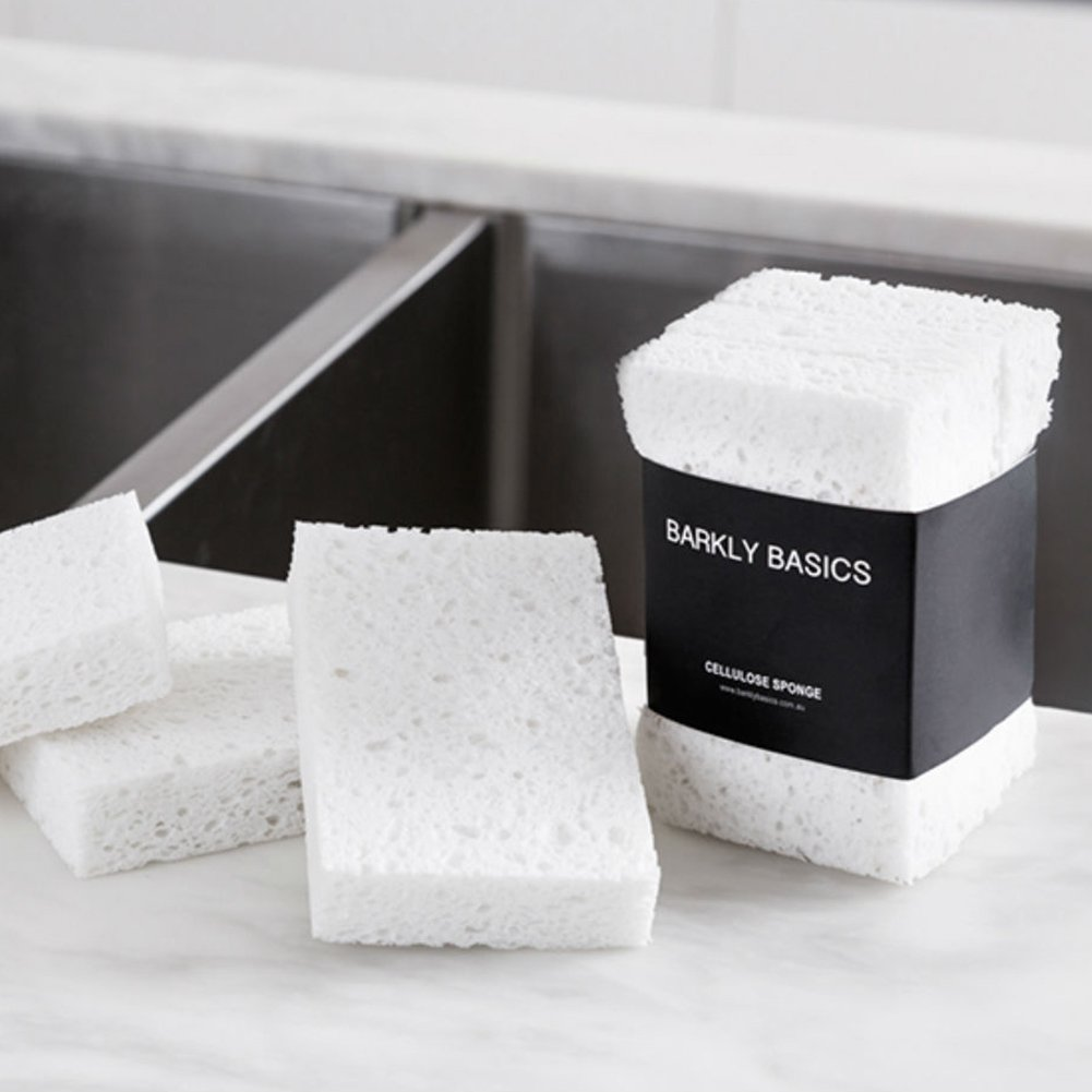100% Biodegradable Natural Cellulose Sponges, Set of 3, White by Barkly Basics
