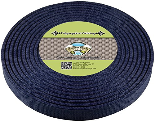 Country Brook Design 1 Inch Navy Blue Polypro Webbing, 25 Yards