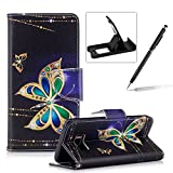 Leather Case for Samsung Galaxy S8,Flip Wallet Cover for Samsung Galaxy S8,Herzzer Stylish Gold Butterfly Pattern Magnetic Closure Purse Folio Smart Stand Cover with Card Cash Slot Soft TPU Inner Case for Samsung Galaxy S8 + 1 x Free Black Cellphone Kickstand + 1 x Free Black Stylus Pen