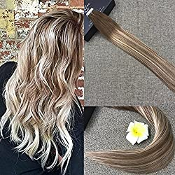 """Full Shine 16"""" Glue in Colored Hair Extensions 20 Pcs 50gram Adhesive Tape Hair Extensions Color #6 Cheust Brown to #22 Highlighted Color #6"""