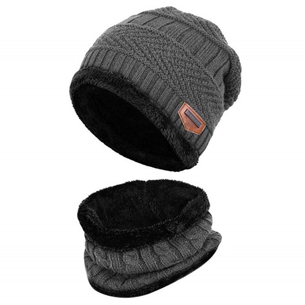 2d5f04d297 Acexy Cappello Uomo Invernali 2 Pezzi Cappello Sciarpa Uomo Maglia e  Sciarpa a Forma di Set all'aperto Berretto