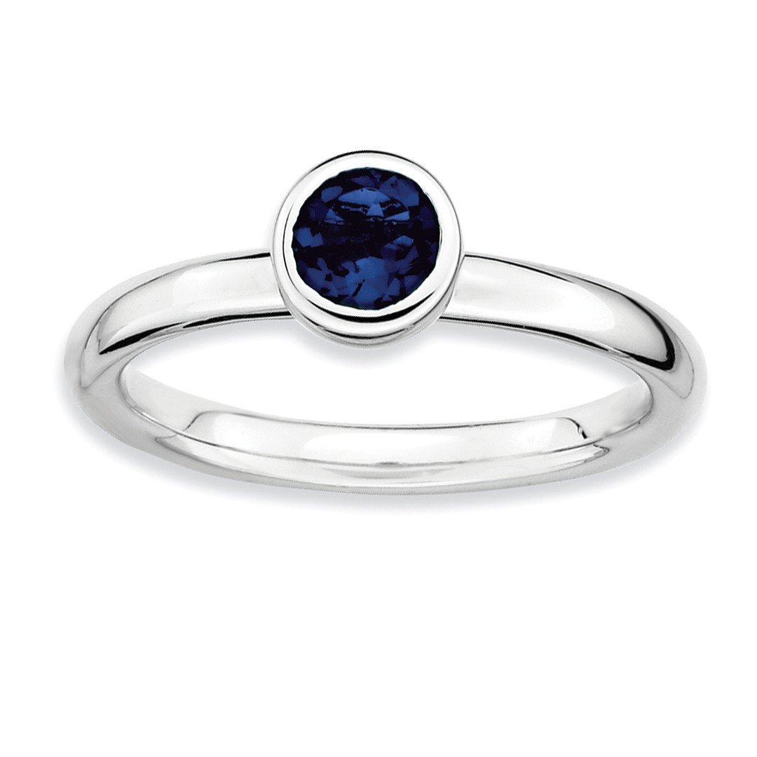 ICE CARATS 925 Sterling Silver Low 5mm Round Created Sapphire Band Ring Size 7.00 Stone Stackable Gemstone Birthstone September Fine Jewelry Ideal Gifts For Women Gift Set From Heart