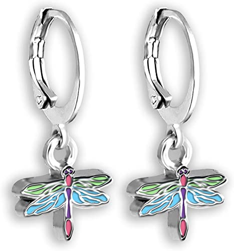 Dragonfly Earrings For Women and Teens | hoop earrings with dragonfly charm, small insect earrings