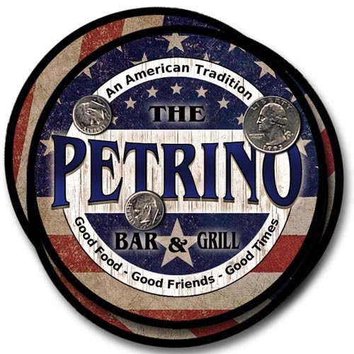 Petrino Bar&Grill Family Name Neoprene Rubber Coasters - 4pcs