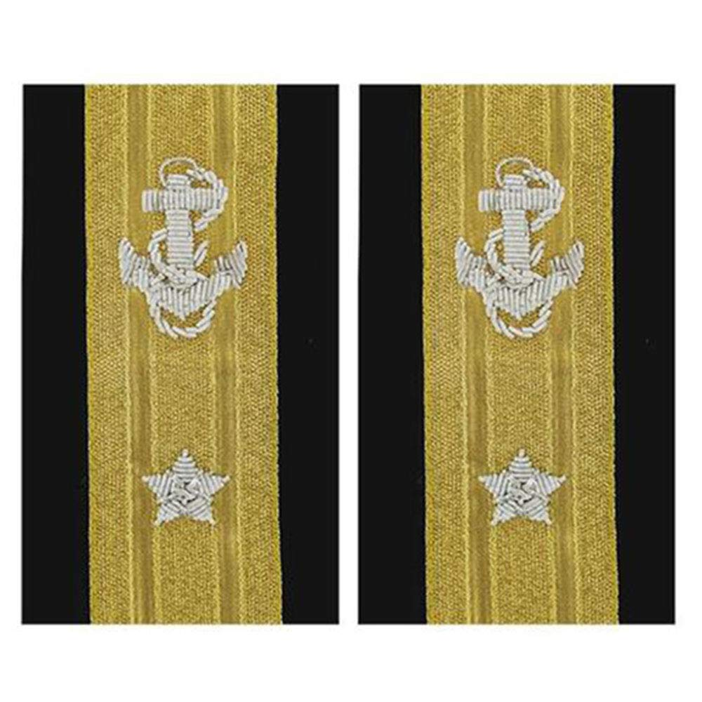 NEW US NAVY SOFT SHOULDER BOARDS 1 STAR MALE LINE OFFICER RANK REAR ADMIRAL (LOWER DECK) - Hi Quality CP MADE PAIR