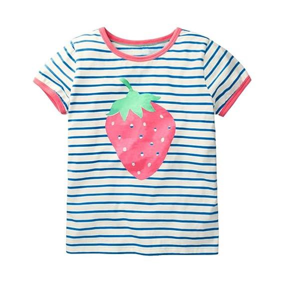 Camisetas Niñas Bebés❤️️Lonshell Camisetas de Verano para Niñas Bebés Camiseta de Lentejuelas de Mariposa Fresas Rayas Tops de Niñas Camisetas Mangas ...