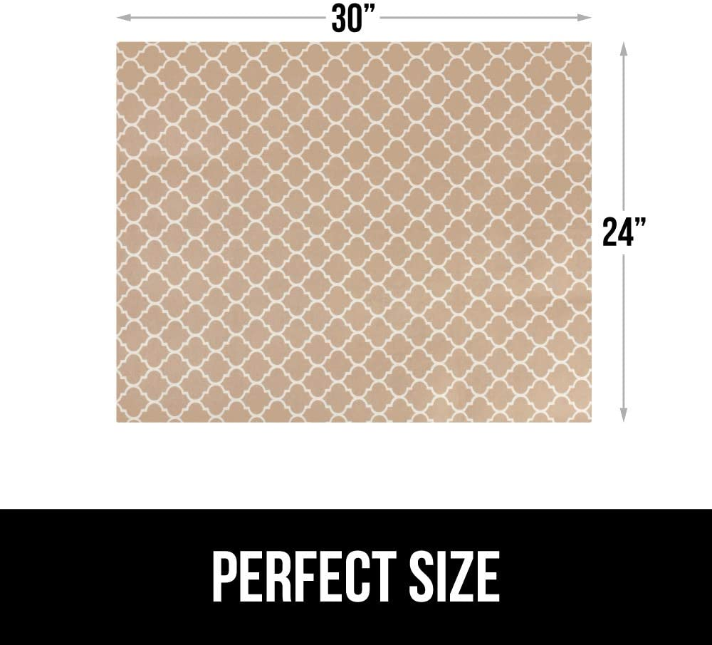 Gorilla Grip Original Premium Under Sink Mat Liner Non-Adhesive Absorbent Mats Bathroom Durable and Strong Waterproof Shelf Liners for Under Kitchen Sinks 24x30 Inch Quatrefoil Beige Linen