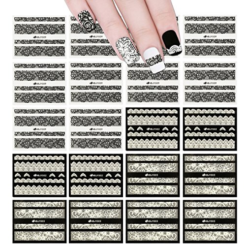 ALLYDREW Black & White Lace Nail Stickers Fashionable 3D Nail Art (20 sheets) by allydrew