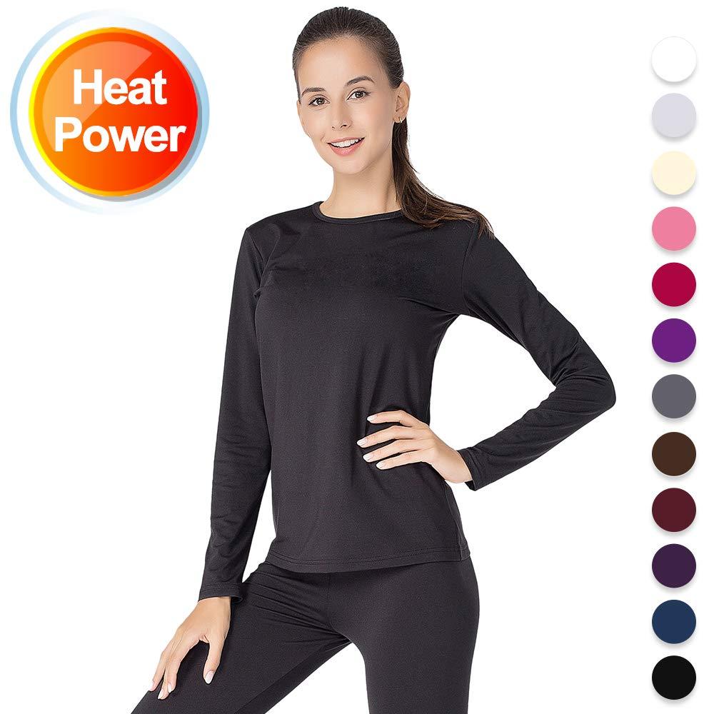 Thermal Underwear for Women Long Johns Set Fleece Lined Ultra Soft (Black, Small)
