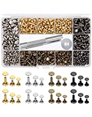 EuTengHao 484Pcs Leather Rivets Double Cap Rivet Tubular Metal Studs 3 Sizes with Punch Pliers and 3Pcs Setting Tool Kit for Leather Craft Repairs Decoration (Gold,Silver,Bronze,Gunmetal; 4 Colours)