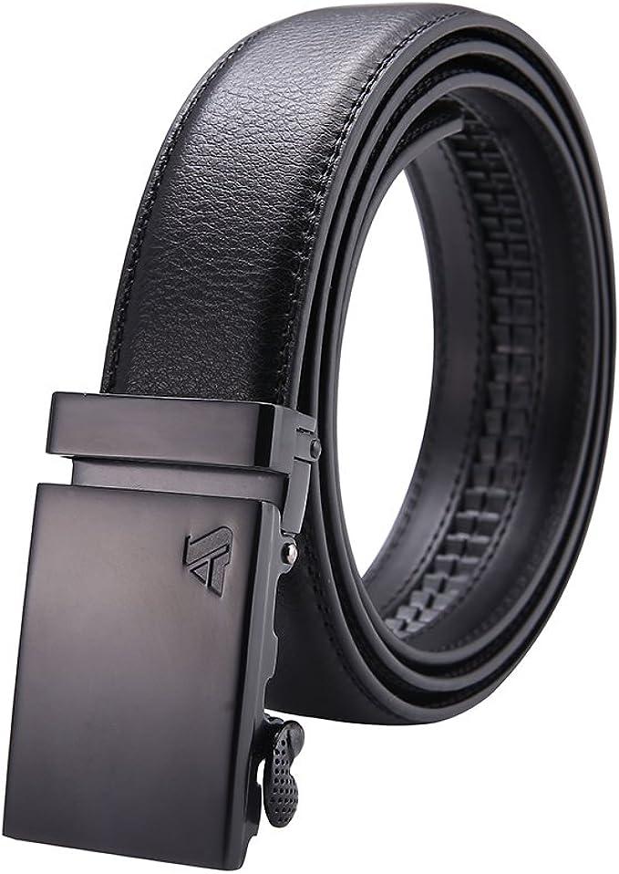 New Stylish Accessories Men/'s Belts pure leather Slide Belt Ratchet No Buckle