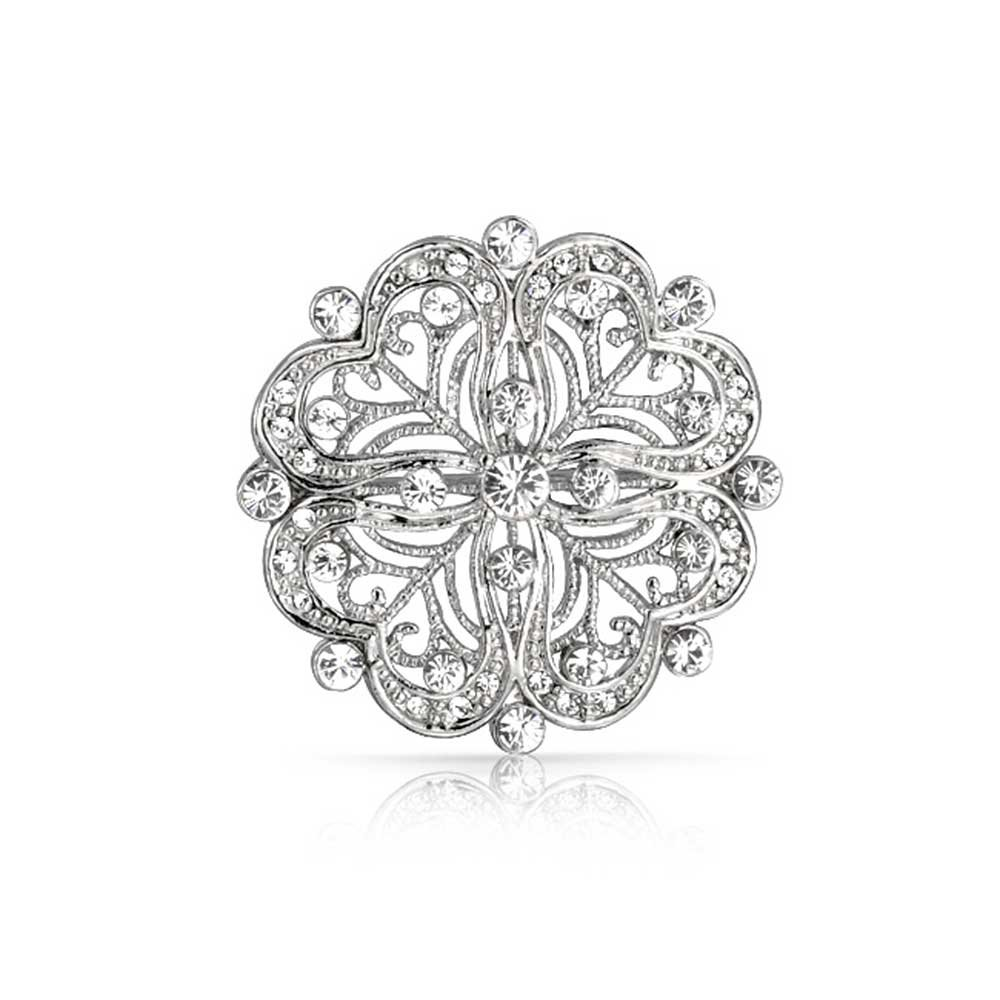 Bling Jewelry Floral Heart Shaped CZ Pin Brooch Vintage Style Rhodium Plated Brass
