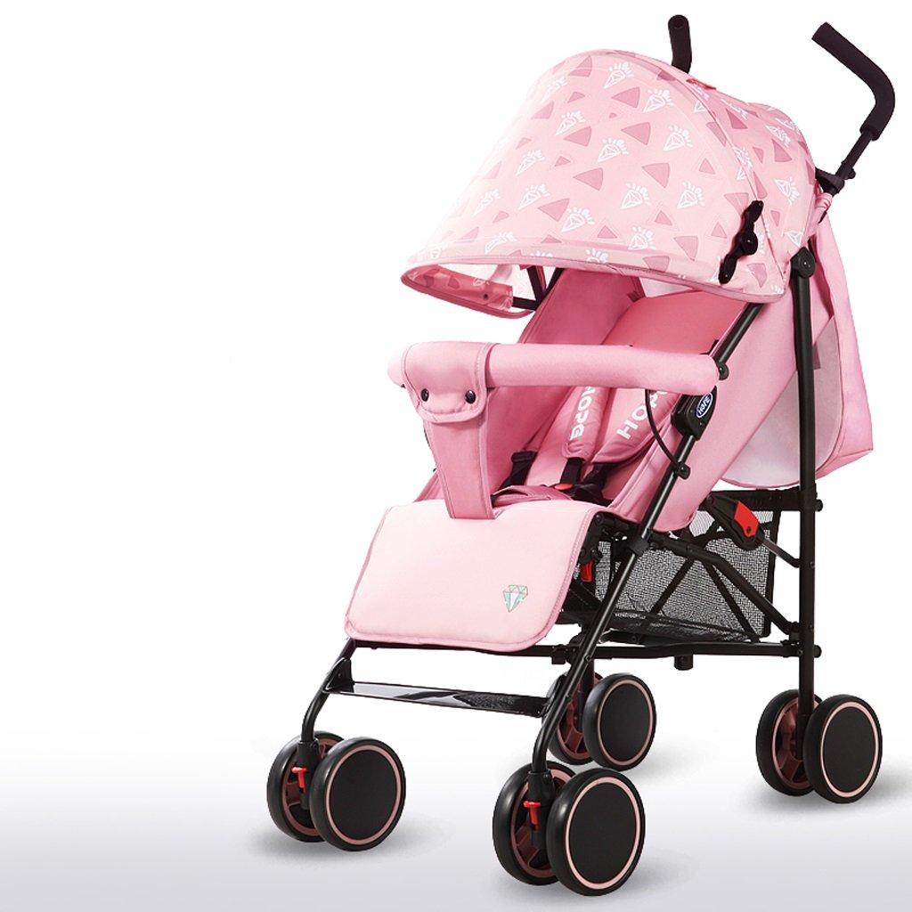 赤ちゃんベビーカー軽量シンプルフィット折りたたみシットトゥゲザー子供用トロリー(ブルー)(グリーン)(ピンク)61 * 102cm ( Color : Pink ) B07BSQMDPF