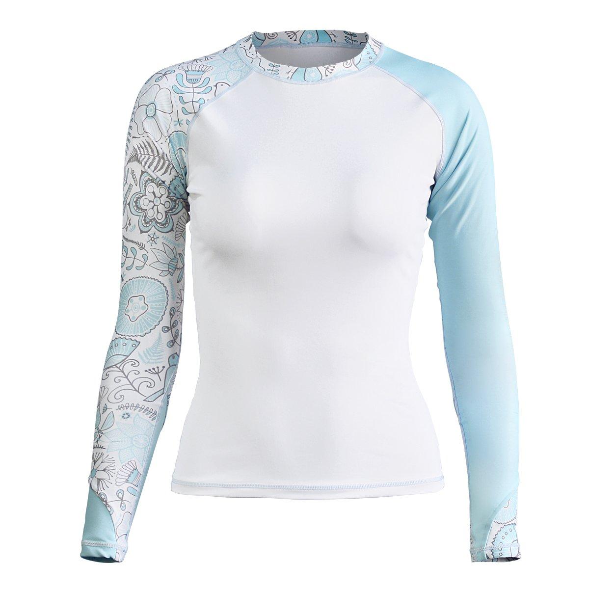 LEEYA Women's UV Sun Protection Rash Guard Long Sleeve Swimsuit Top Bathing Suit (White+Blue, Medium)