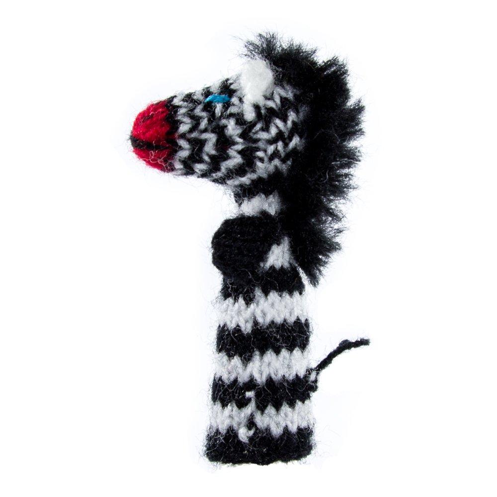 Fingerpuppe Zebra Kasperltheater Spielzeug zum Spielen und Lernen handgestrickt aus weicher Wolle für Baby und Kinder Willy' s Manufaktur FP 0364