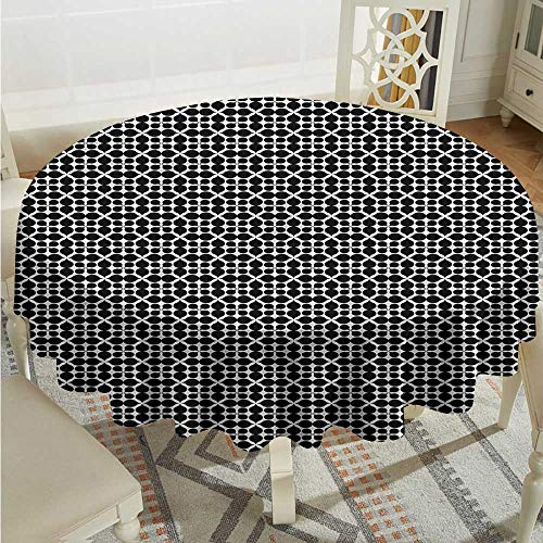 Tim1Beve Black and White Anti-Fading Tablecloths Oval Form Geometric Table Cover for Kitchen Dinning Tabletop Decoratio D54 ()