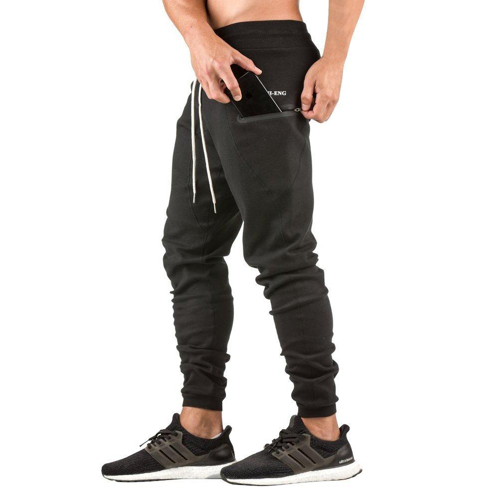 MECH-ENG Men's Jogger Pants Sport Running Trousers with Zipper Pockets MECH-3933BK2XL