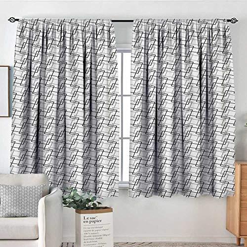 (Mozenou Geometric Custom Curtains Minimalist Pattern with Intersecting Squares Grayscale Lattice Mosaic Customized Curtains 55