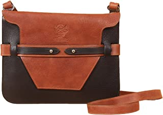 product image for Black w/Brown Trim Ladies Full Grain Leather Crossbody Handbag | Col. Littleton