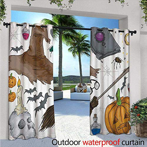 Halloween Fashions Drape W84 x L108 Magic Spells Witch Craft Objects Doodle Style Illustration Grunge Design Skull Outdoor Curtain Waterproof Rustproof Grommet Drape -