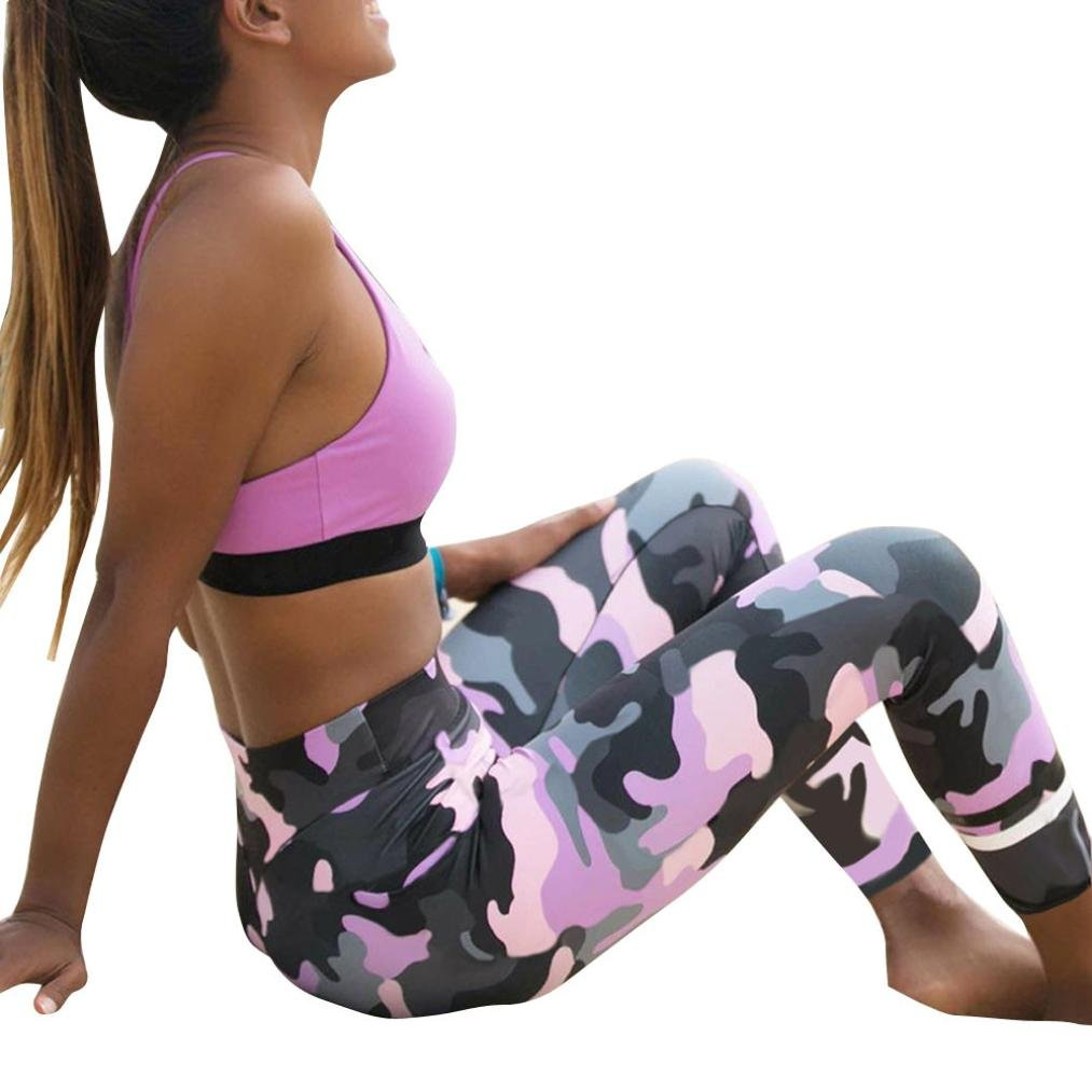 Camouflage Sports Yoga Leggings, Leyorie Women Workout Gym Fitness Exercise Casual Pants
