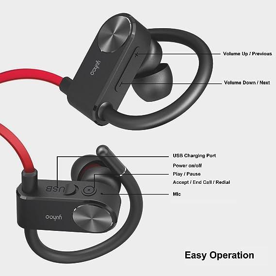 Auriculares Bluetooth y Deportivos,Cascos Inalámbricos con de Correr El Senderismo Gym Training Fitness Workout (Resistentes al Sudor,micrófono,cancelación ...