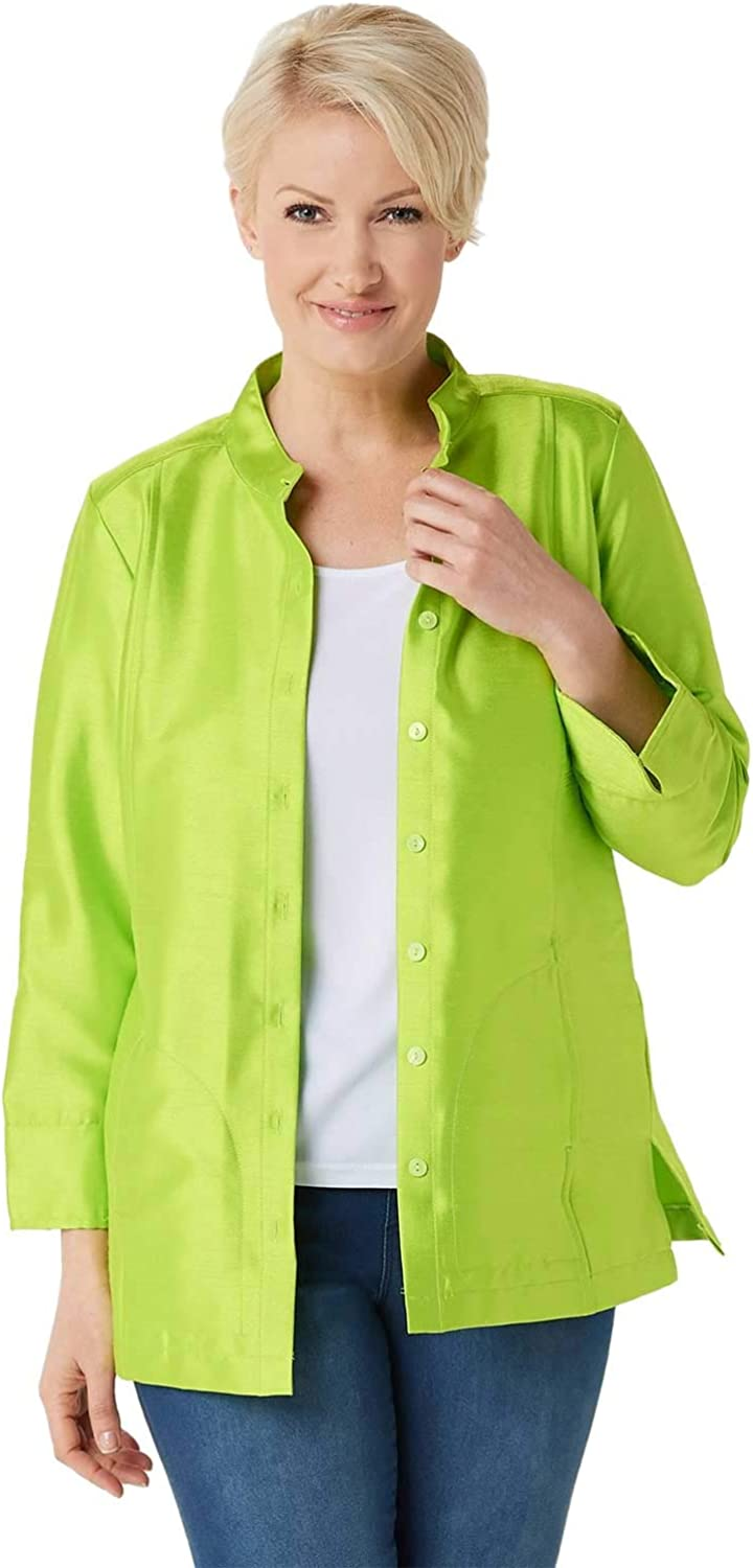Linea by Louis Dell'Olio Womens Faux Shantung Band Collar Jacket 16 Lime A351115