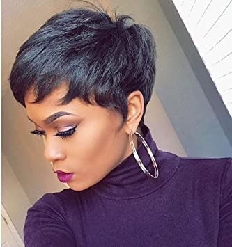 Amazon Com Short Black Pixie Cut Hair Natural Synthetic Wigs For