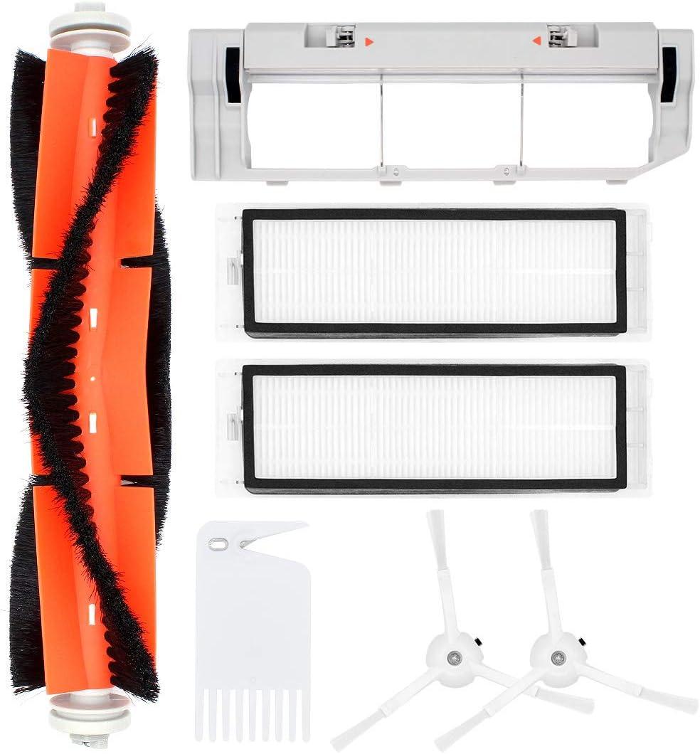 DingGreat Accesorios para aspiradoras para Xiaomi Roborock S55 S50 S51, Incluye 2 Cepillo lateral, 1 Cepillo principal, 2 filtro HEPA, 1 Tapa del Cepillo Principal, 1cepillo de limpieza
