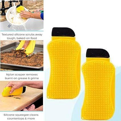 Dispensador de jabón integrado de silicona, cepillo de limpieza para cocina, esponja, olla