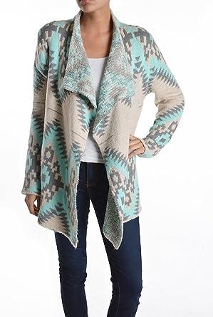 ReneeC. Women's Aztec Print Winter Open Front Warm Knit Cardigan ...