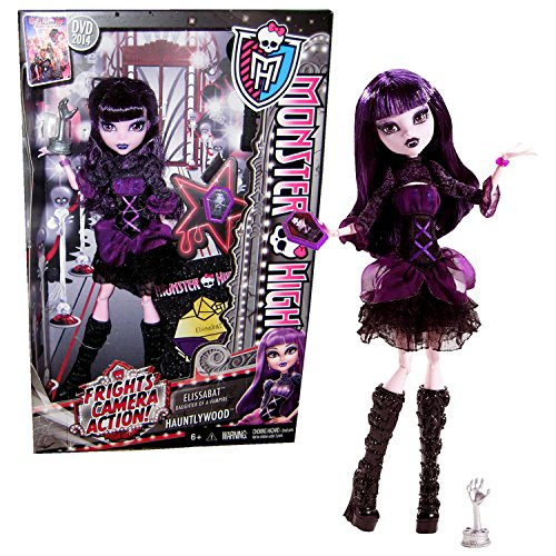 Mattel Year 2013 Monster High Frights, Camera, Action! Series 11 Inch Doll Set - ELISSABAT Daughter of a Vampire with Coffin-Shaped Phone, Hand Fright Award, Hairbrush and Doll Stand