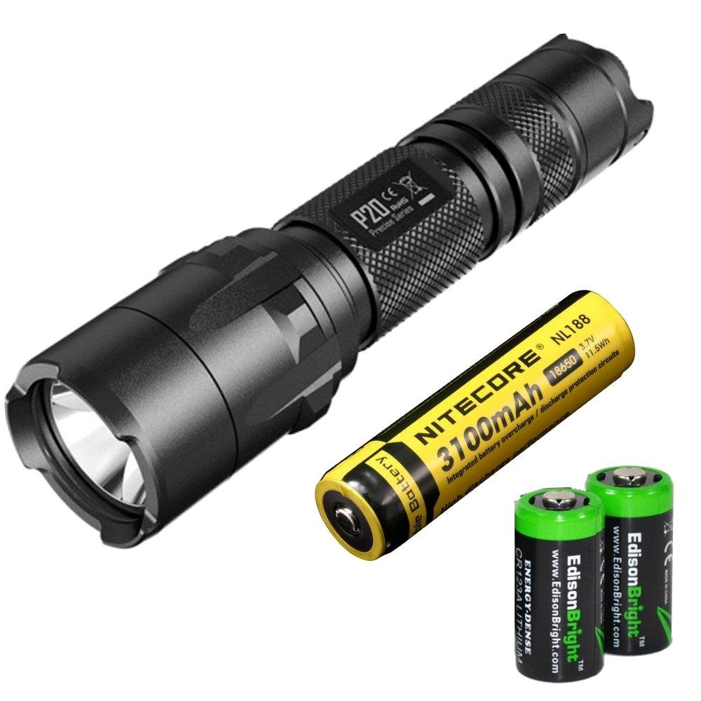 NITECORE P20 800 Lumen high intensity CREE XM-L2 LED specialized tactical duty Strobe Ready flashlight with Nitecore NL188 3100mAh rechargeable 18650 Battery and 2 X EdisonBright CR123A Lithium Batteries bundle by Nitecore