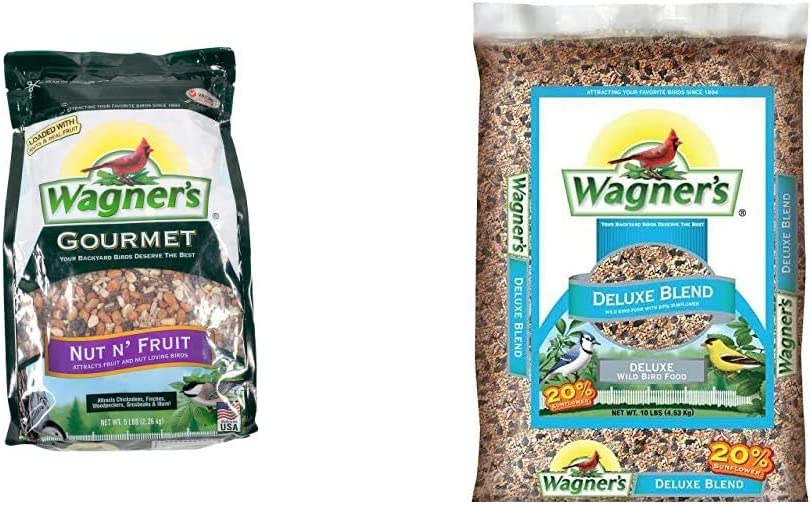 Wagner's 82072 Gourmet Nut & Fruit Wild Bird Food, 5-Pound Bag & 13008 Deluxe Wild Bird Food, 10-Pound Bag, Basic