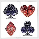 Cotton Microfiber Hand Towel,Diamond Decor,Diamond Shaped Cards Poker Face Fortune Symbols Sapphire Dijital Prints,Dark Blue Red,for Kids, Teens, and Adults,One Side Printing