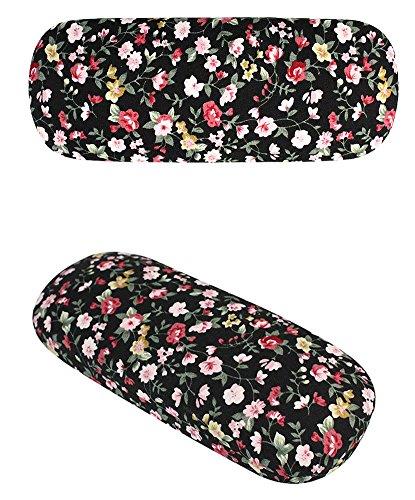 JAVOedge Black Small Floral Print Reading Glasses Case