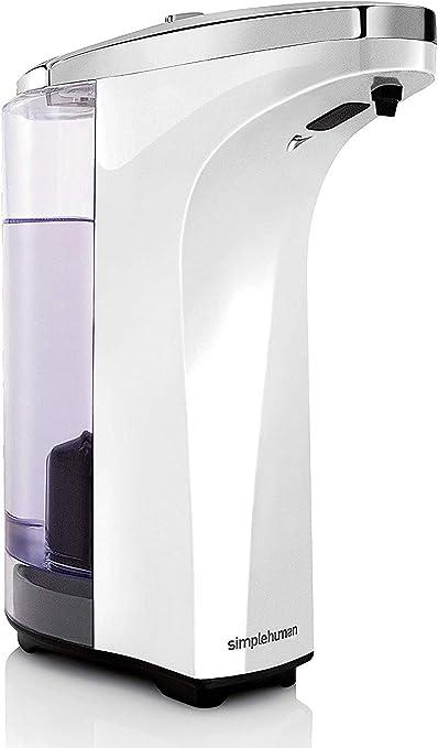 simplehuman, dosificador con sensor de 237 ml, plástico blanco ...