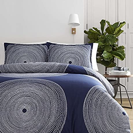 3 Piece King Mid Century Dot Graphic Pattern Duvet Cover Set Contemporary Modern Abstract Design Antique Medallion Themed Beautiful Reversible Bedding Adorable Navy Blue White Color Unisex