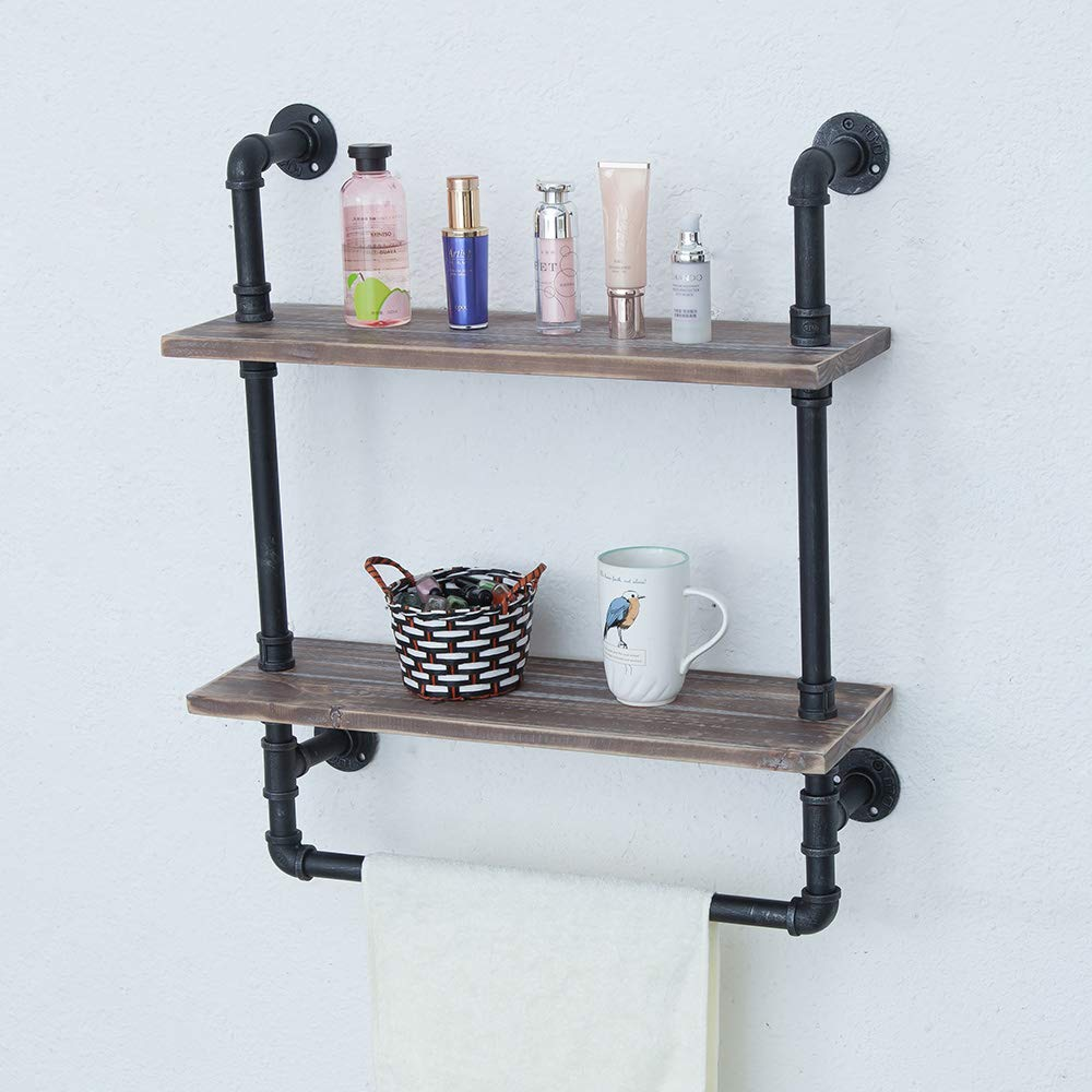 Industrial Bathroom Shelves Wall Mounted 2 Tiered,Rustic 24in Pipe Shelving Wood Shelf With Towel Bar,Black Farmhouse Towel Rack,Metal Floating Shelves Towel Holder,Iron Distressed Shelf Over Toilet by Industrial Furniture (Image #5)