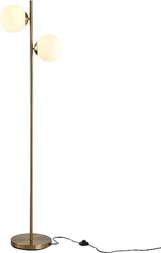HOMCOM Floor Lamp w/ 2pcs Glass Lamp Shade Modern Portable Decorative Lamp