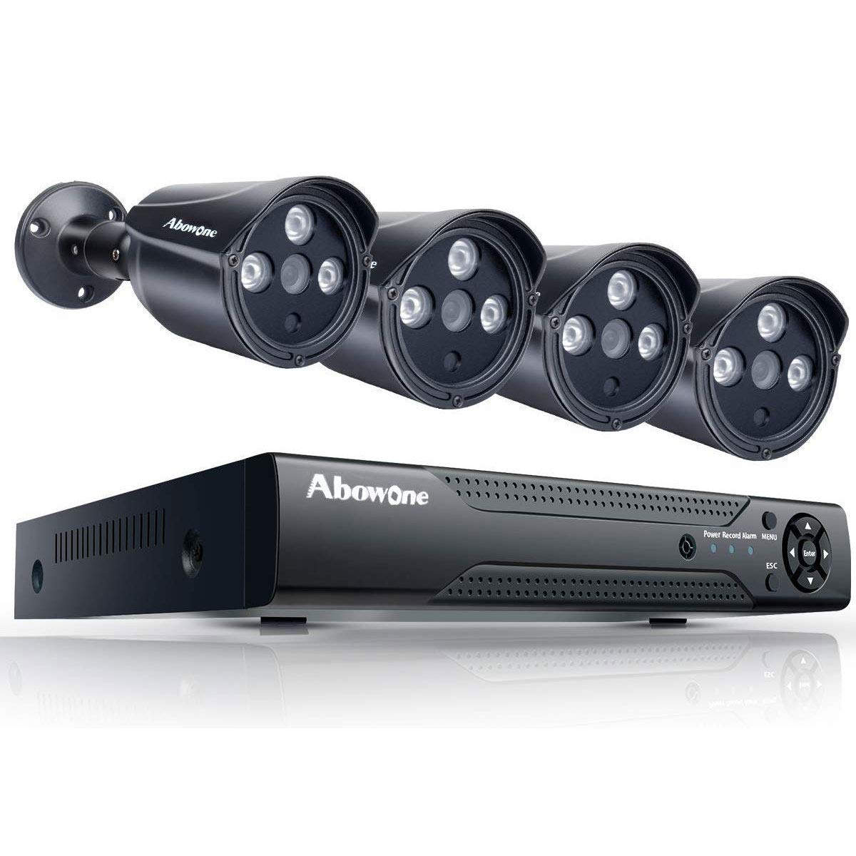 PoE Security Camera System PoE 1080P Abowone 4 Channel PoE NVR 4PCS 2.0MP 1080P IP66 Weatherproof Indoor/Outdoor IP Cameras Security Camera Remote View Motion Detect HD Night Vision,No Hard Drive by Abowone
