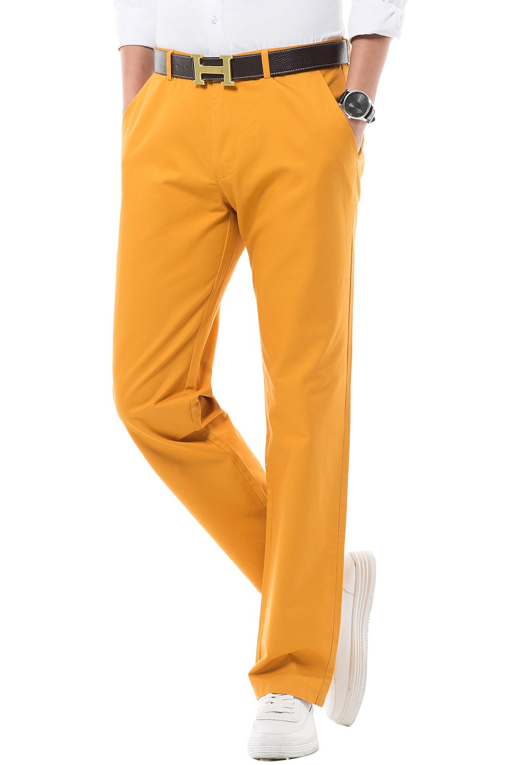 FLY HAWK Business Pure Cotton Casual Pants for Mens, Orange Leisure Soft Pants Size 31 x 33 by FLY HAWK