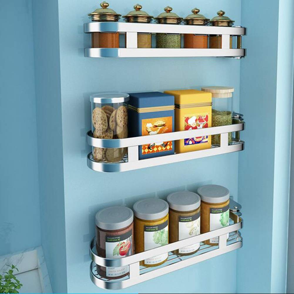 Bookcases Kitchen Family Racks Stainless Steel Seasoning Racks Kitchen Racks Wall Mount Rotary Sauce Storage Angle Shelf Free Punch Yixin (Color : C, Size : 376.36.8cm)