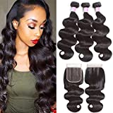 Flady Brazilian Body Wave with Closure 7a Unprocessed Brazilian Virgin Hair 3 Bundles with Three Part Closure Natural Black Human Hair Bundles With Closure (16 18 20+14inch closure) For Sale