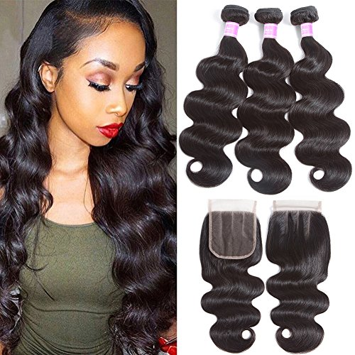 Flady Brazilian Virgin Hair 3 Bundles with Closure 7a Unprocessed Human Hair Bundles with Closure Three Part Natural Black Brazilian Body Wave with Closure (14 16 18+12inch closure)