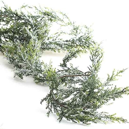 Fresh Garland (Factory Direct Craft Vinyl Artificial Cedar Garland With Sparkling Faux Snow Accent - 6' Long)