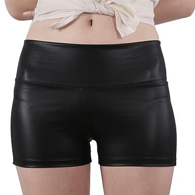 JNTworld women Sexy Faux Leather High Waist Shorts Sateen Skinny ...
