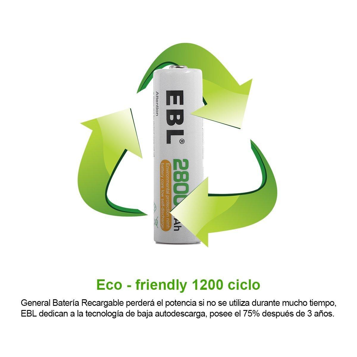 EBL AA Baterías Recargables de 2800mAh de Alta Capacidad con último Paquete (4 unidades) …