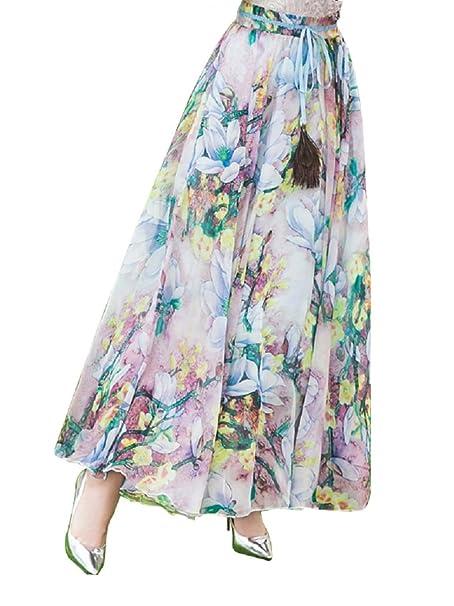 DEBAIJIA Falda Larga Mujer Maxi Bohemia Playa Vacaciones Gasa con Estampado  Floral Talla Grande Cintura Elástica  Amazon.es  Ropa y accesorios 557a09d6ed3f