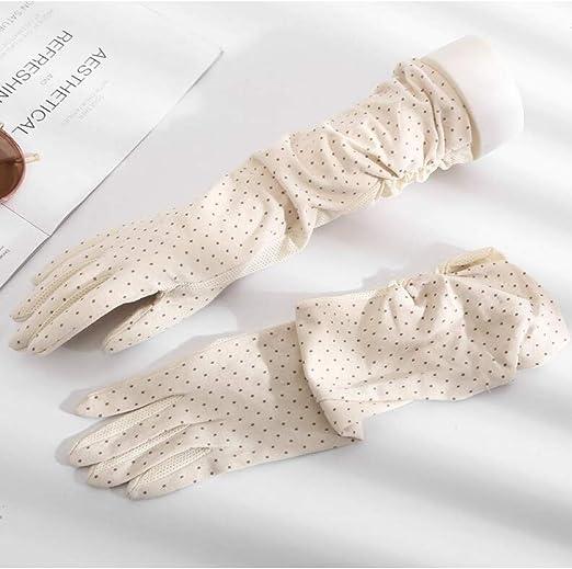 Huasho Guantes Largos de algodón con Estampado de Puntos de Primavera y Verano para Mujer Protección UV Femenina Protector Solar Transpirable Guante de conducción de Verano,Crema: Amazon.es: Hogar